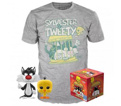 Набор Фигурка+Футболка Funko POP and Tee: Looney Tunes: Sylvester & Tweety