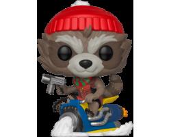 Рождественский Енот-Ракета на снегоходе